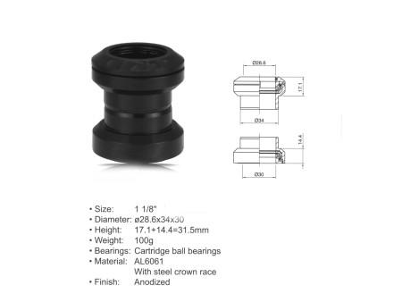 "AUTHOR ΠΟΤΗΡΙΑ ΠΙΡΟΥΝΙΟΥ  ACO - HS04  (1 1/8""; d:28.6/ 34/ 30mm) (black)"
