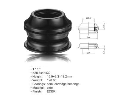 "AUTHOR ΠΟΤΗΡΙΑ ΠΙΡΟΥΝΙΟΥ  ACO - HS20 Internal (1 1/8""; d:28.6/ 44/ 30mm) (black)"