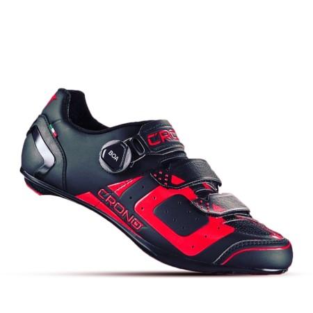 Παπούτσια για ποδηλασία δρόμου   CRONO   CR3-19 Nylon   Μαύρο Κόκκινο